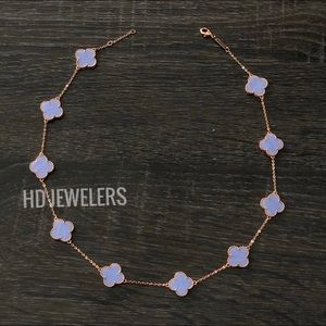 10 Rose Gold Leaf Clover Lavender Leaf Necklace